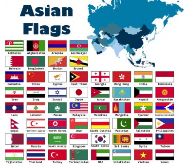 Asian flag set in alphabetical order