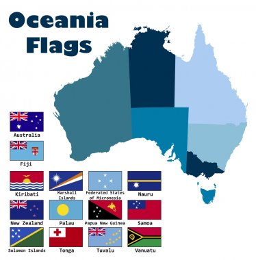 Oceania flag set in alphabetical order