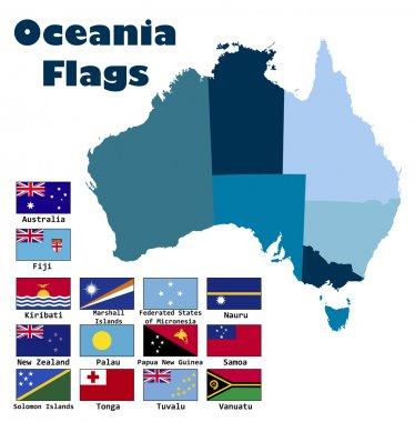 Oceania flag set in alphabetical order