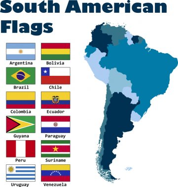 South American flag set