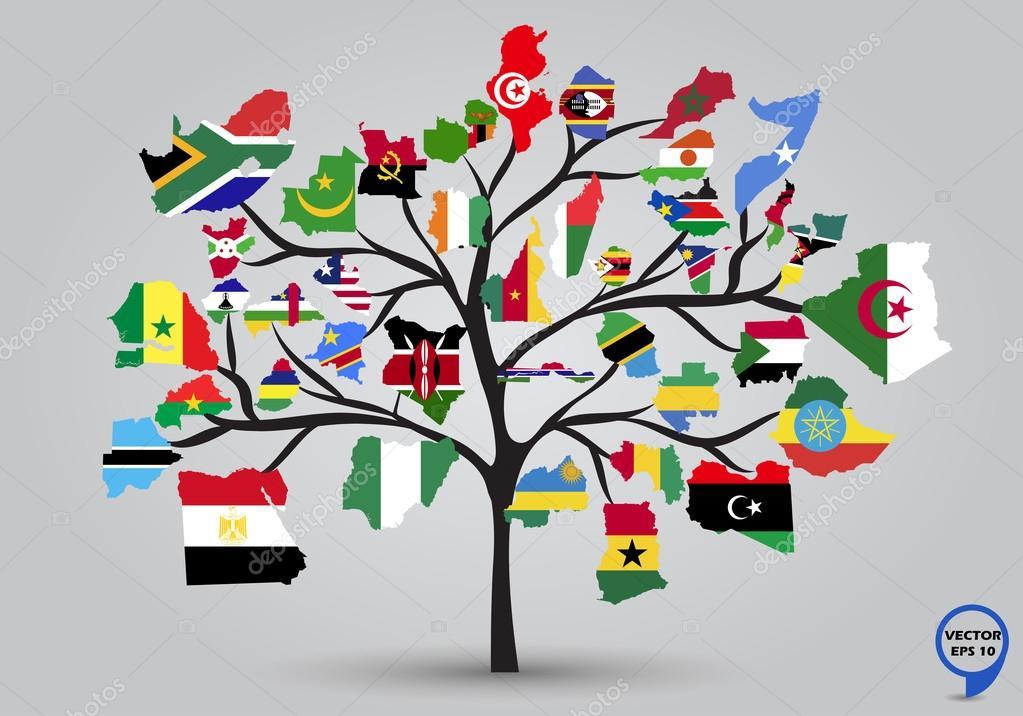 Map Flags Of Africa In Tree Design. U2014 Stock Vector