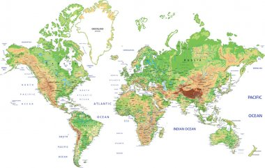World map with labeling.