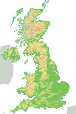 United Kingdom physical map.