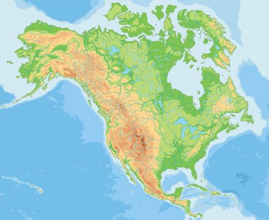 North America physical map.