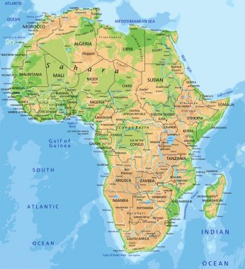 Africa physical map with labeling.