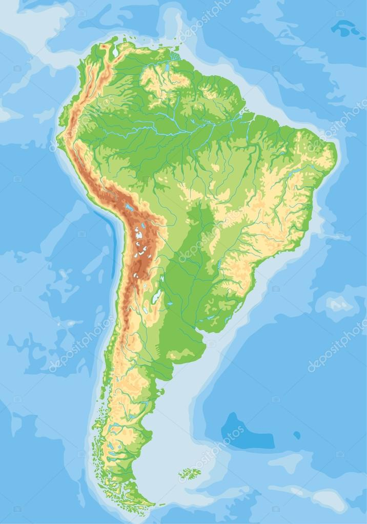 South America physical map. — Stock Vector © delpieroo #63375365