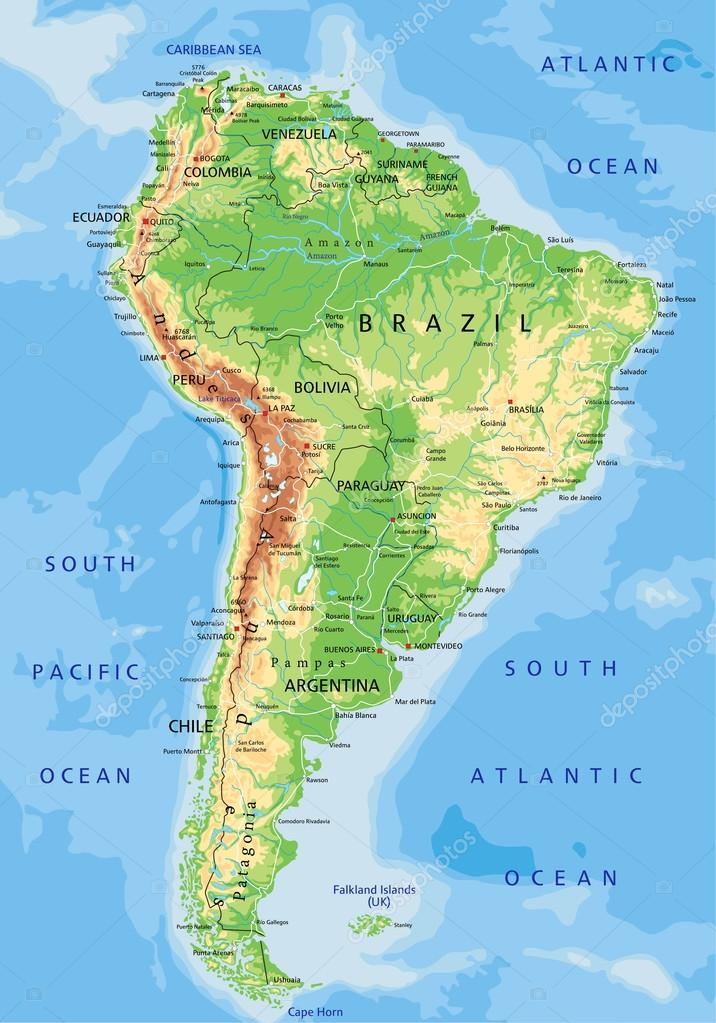 South America Physical Map With Labeling Stock Vector - World physical map labeled
