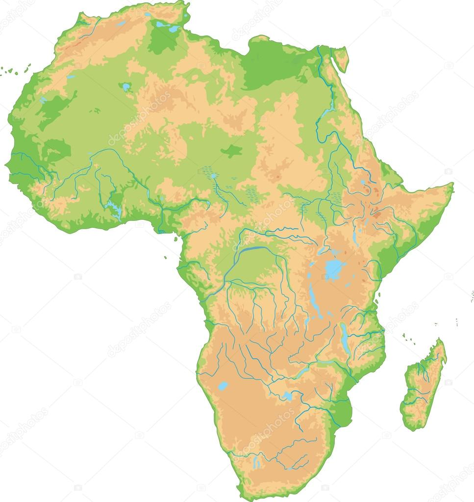 Africa Physical Map Stock Vector Delpieroo - Africa physical map