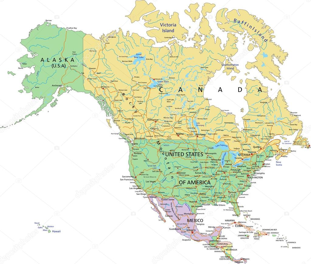North America political map — Stock Vector © delpieroo #63375509