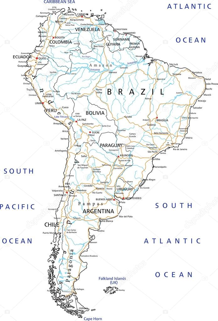 South America road map with labeling. — Stock Vector ... on road map biology, features south america, destination south america, road map scandinavia, library south america, camping south america, driving in columbia south america, road map brazil, road map buenos aires, hotels south america, water south america, trip south america, road map anguilla, road map zimbabwe, tourist south america, landlocked country south america, lake nicaragua map central america, road map martinique, blog south america, road map suriname,