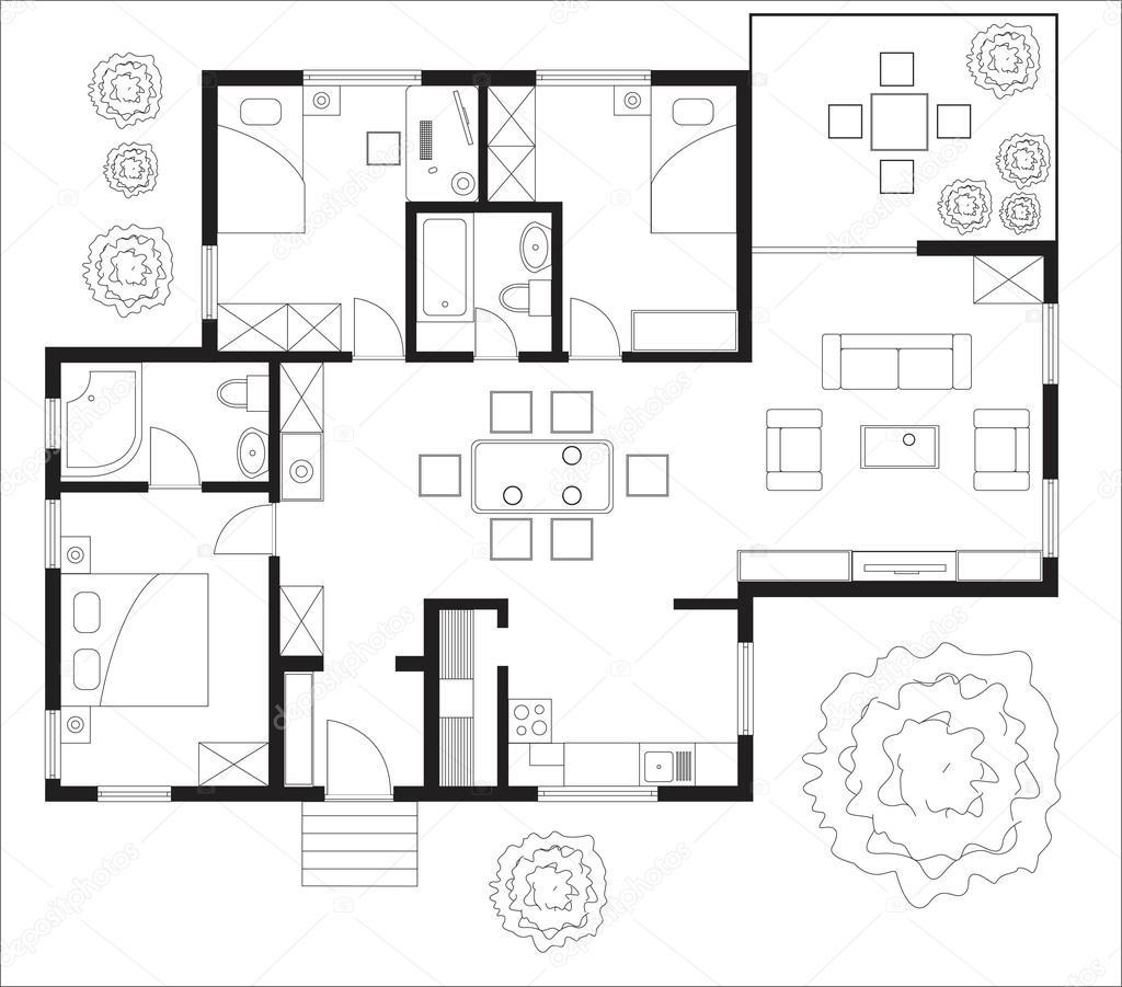 Grundriss Eines Hauses U2014 Stockvektor