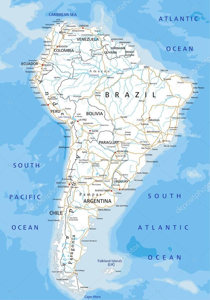 South America Road Map Stock Vector Delpieroo - South america road map