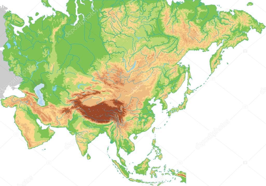 Asia physical map. — Stock Vector © delpieroo #63375609