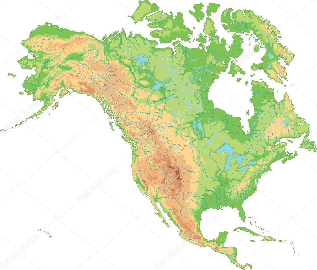 North America physical map. — Stock Vector © delpieroo #63375643