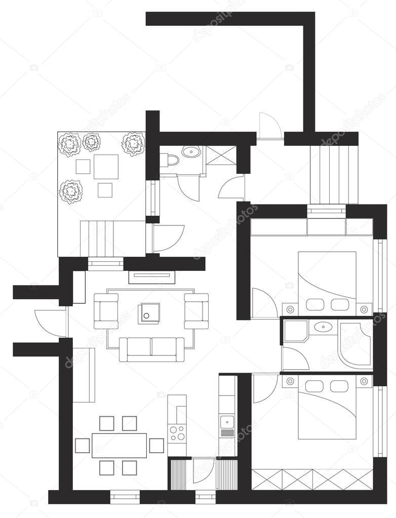 Plan détage dune maison image vectorielle 63375669