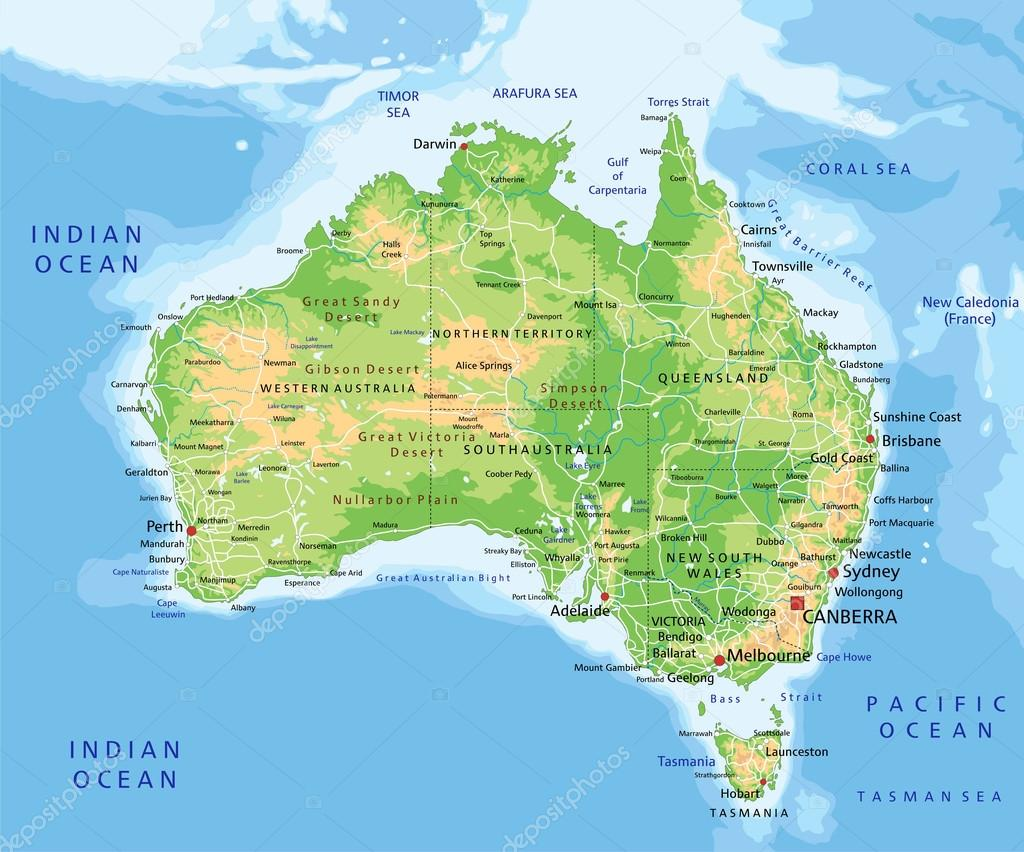 Australia Physical Map Stock Vector Delpieroo - World physical map labeled