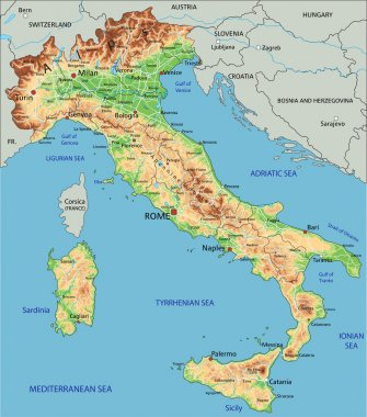 Italy physical map with labeling.