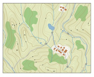 Topographic map with contour lines