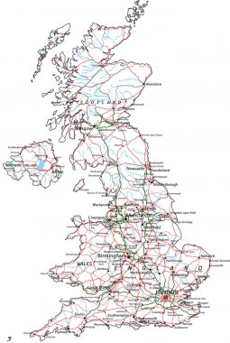 United Kingdom road and highway map.