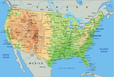 United States of America physical map