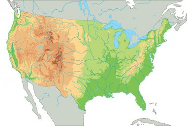 United States of America physical map.