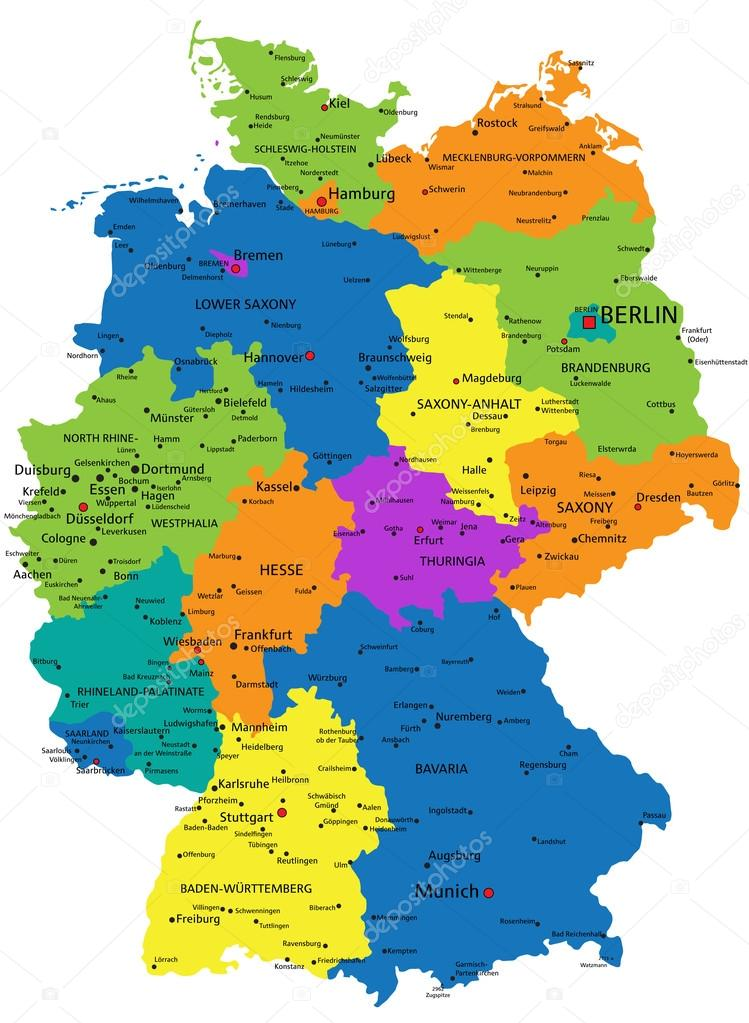 colorful germany political map with clearly labeled separated layers vector illustration vector by delpieroo