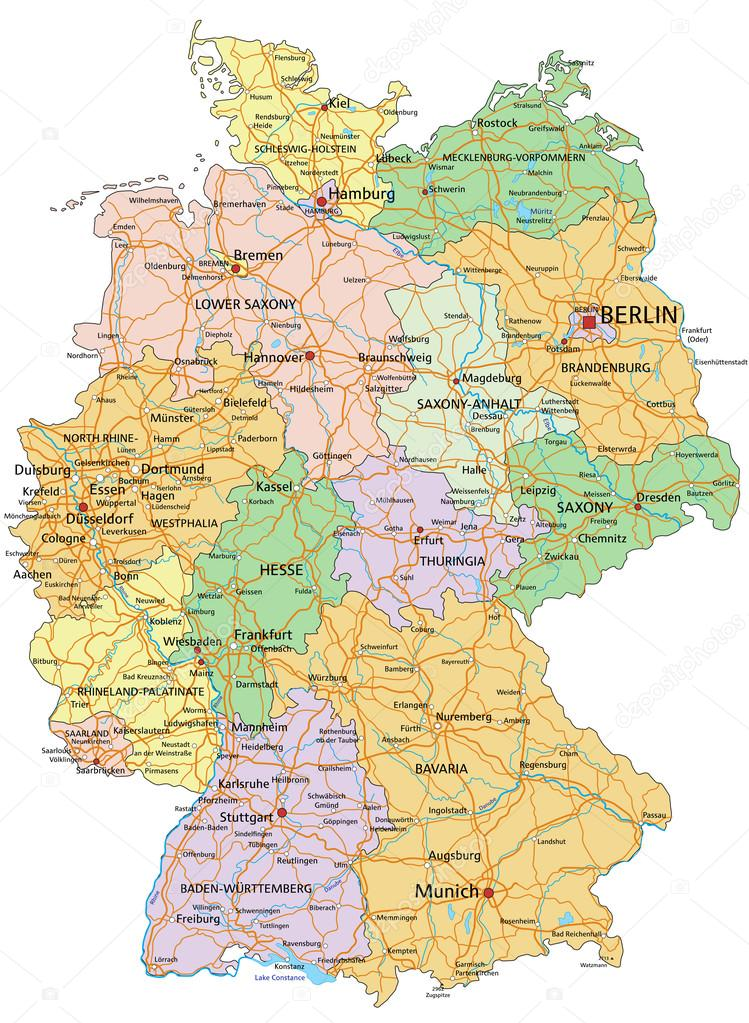 Germany   Political Map With Separated Layers. U2014 Stock Vector