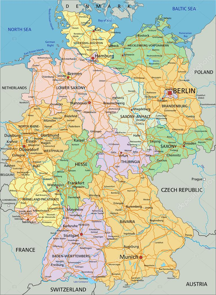 germany political map with separated layers stock vector