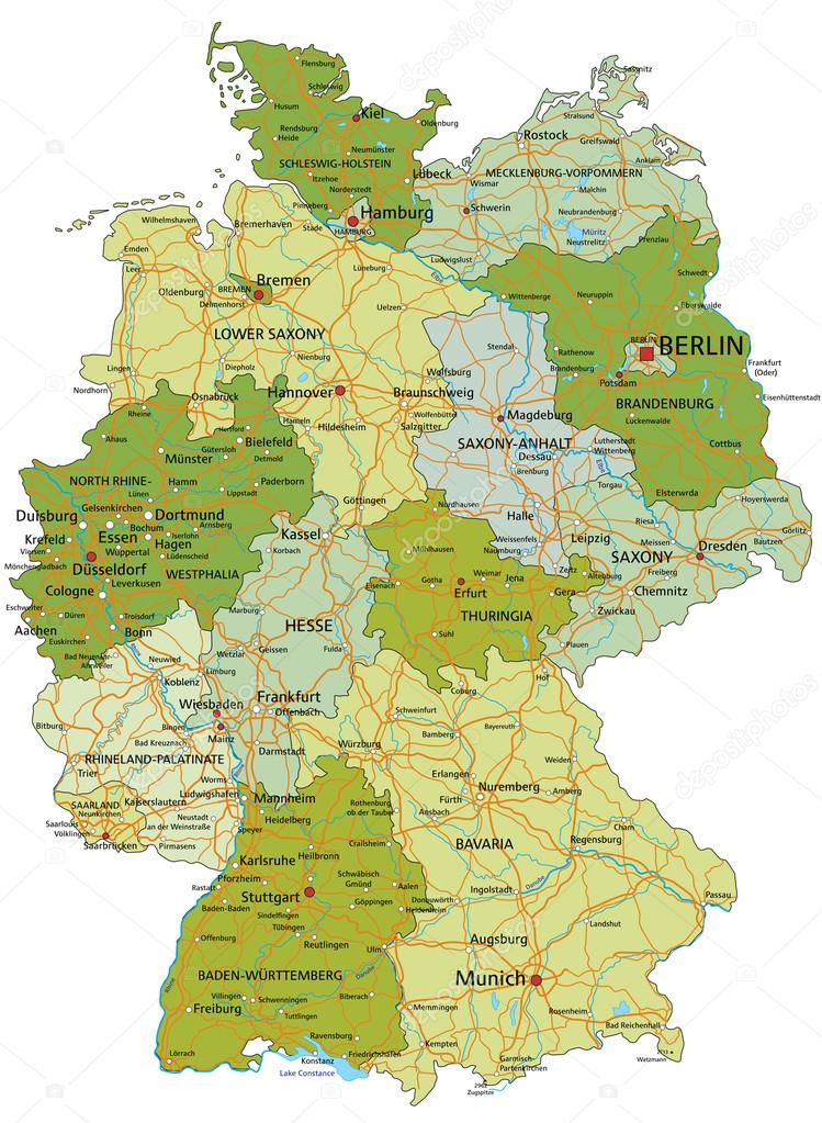 germany highly detailed editable political map with separated layers vector by delpieroo