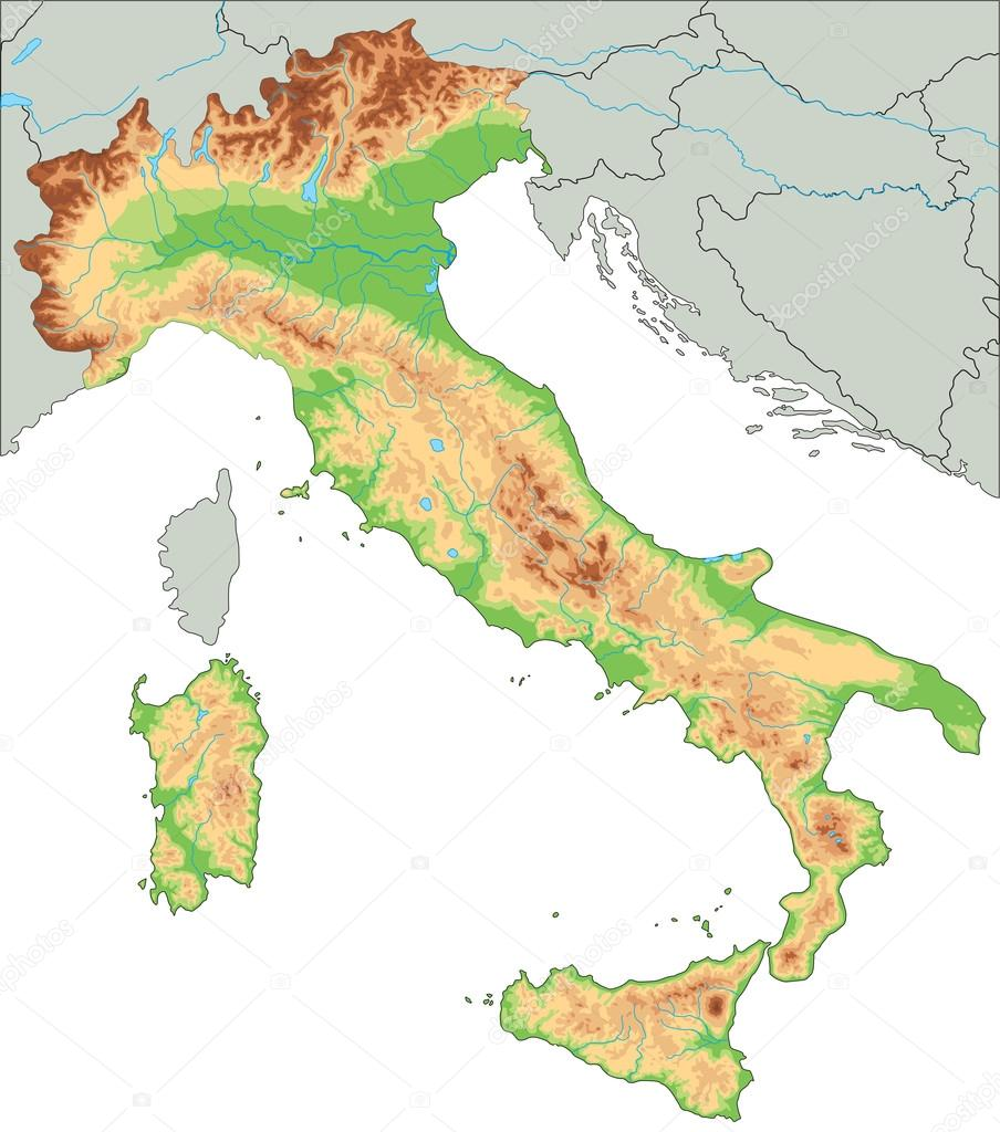 Italy physical map.