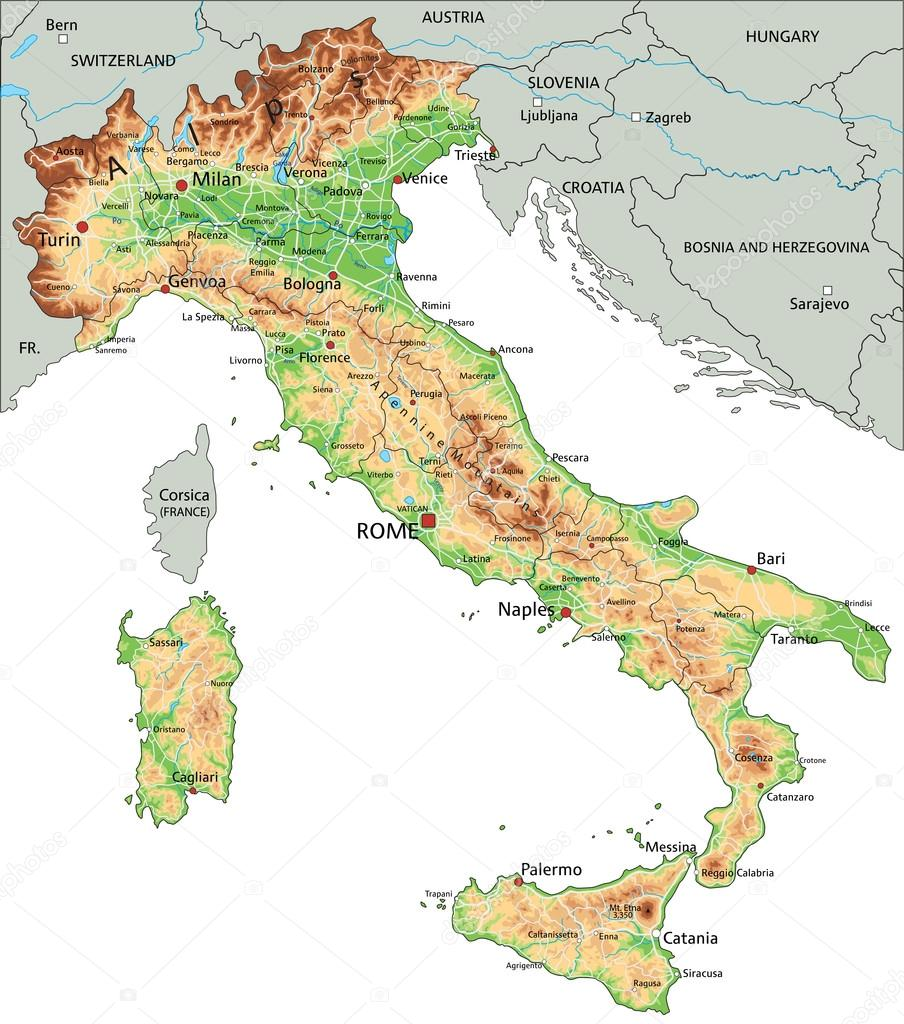 Italy Physical Map With Labeling Stock Vector C Delpieroo 76115139