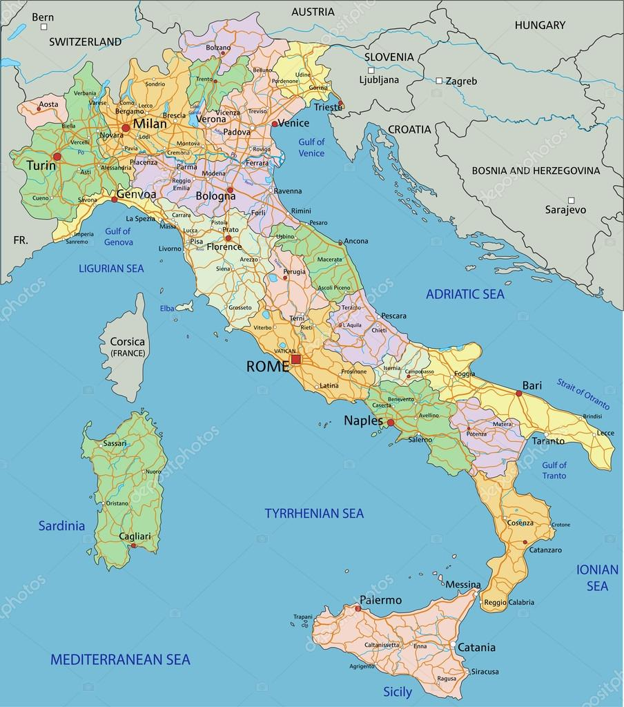 Italy political map with separated layers Stock Vector