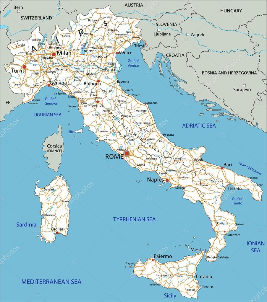 Italy road map with labeling Stock Vector delpieroo 76115239