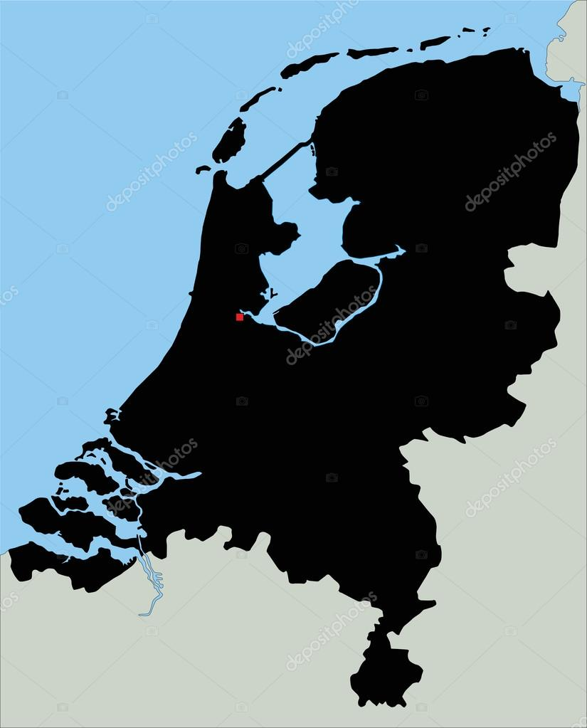 Netherlands Silhouette map Stock Vector delpieroo 76115309