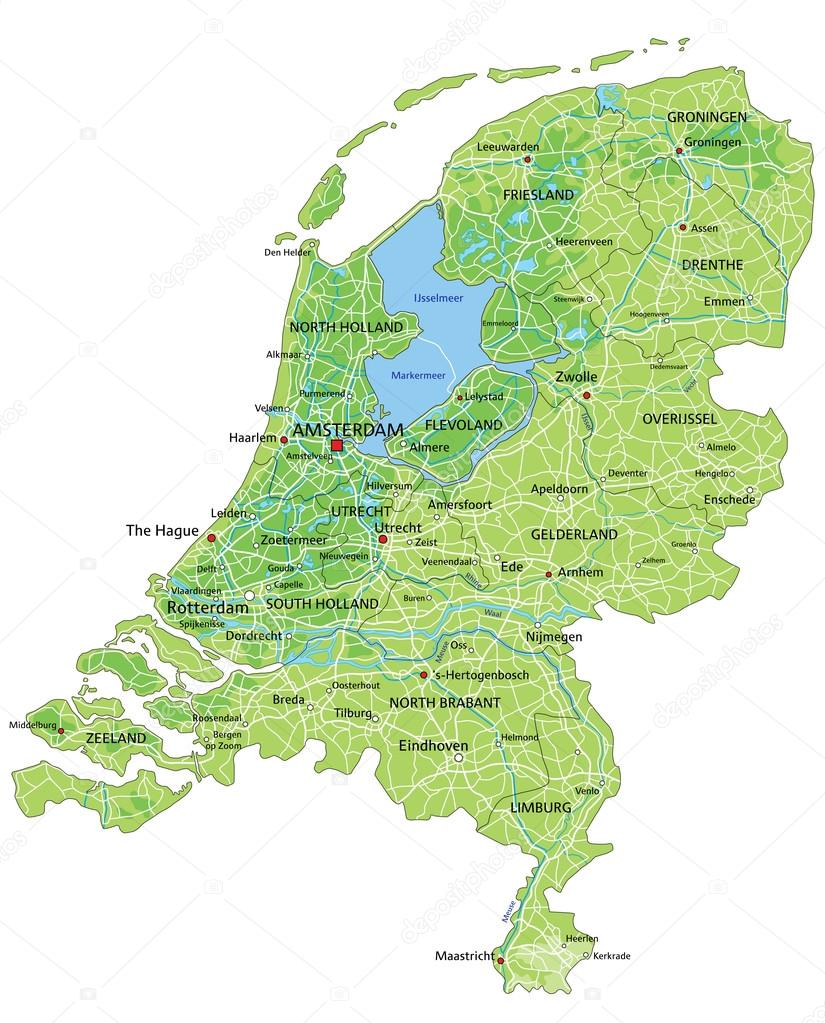 Netherlands physical map with labeling Stock Vector delpieroo