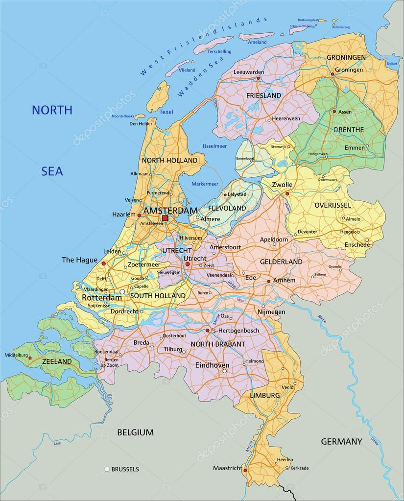 Netherlands political map with separated layers Stock Vector