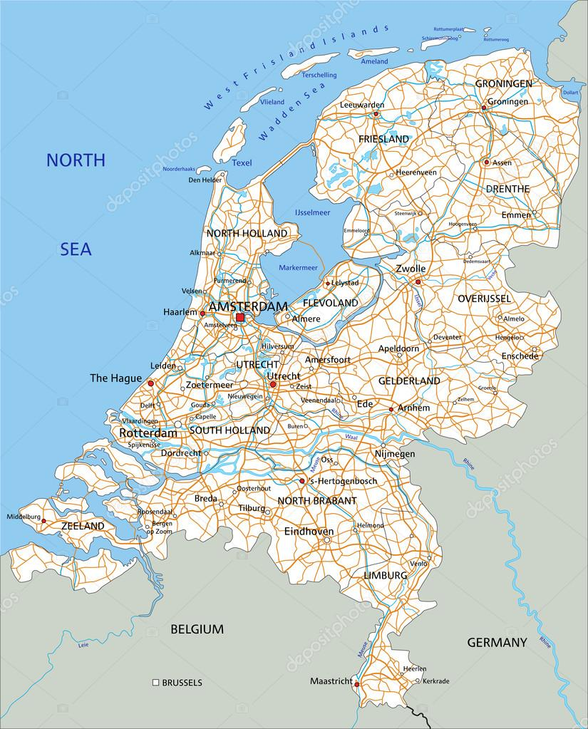 depositphotos_76115593 stock illustration netherlands road map with labeling
