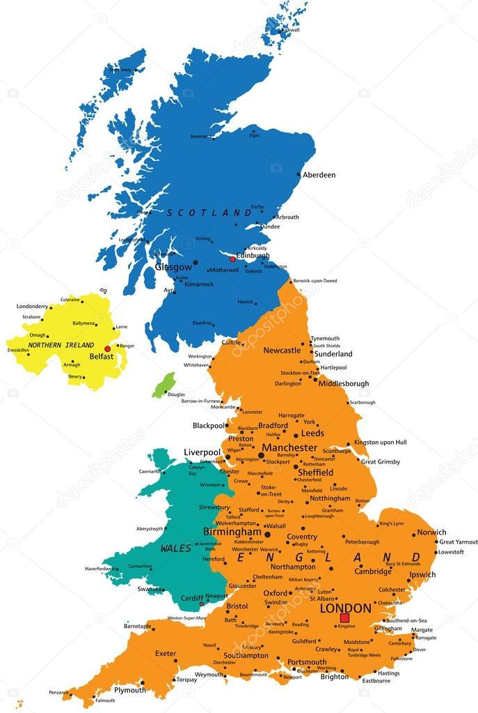 Cartina Politica Regno Unito In Italiano.Colorful United Kingdom Political Map Vector Image By C Delpieroo Vector Stock 76115717