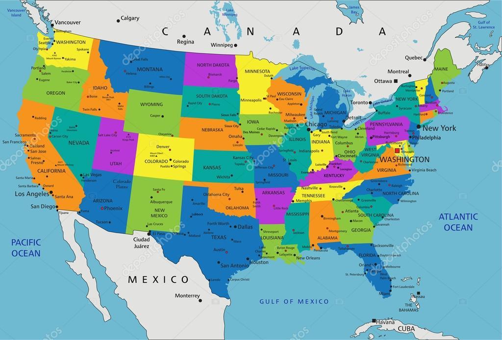 Mapa Politico Estados Unidos.Mapa Politico De Estados Unidos De America Archivo