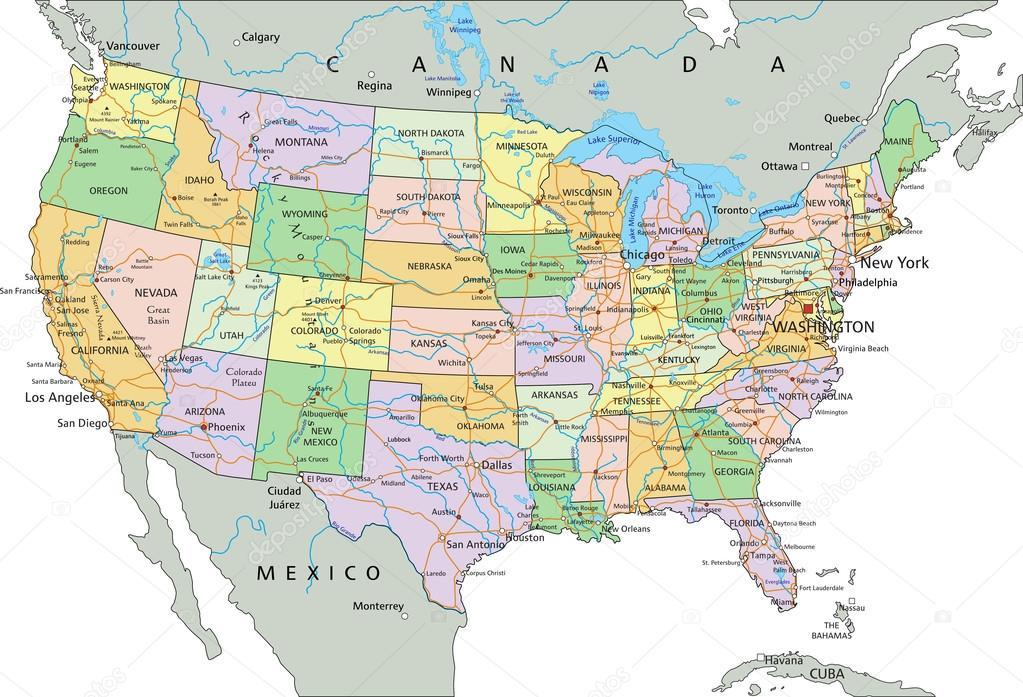 Mapa Politico Estados Unidos.Mapa Politico De Mexico Y Estados Unidos Estados Unidos De
