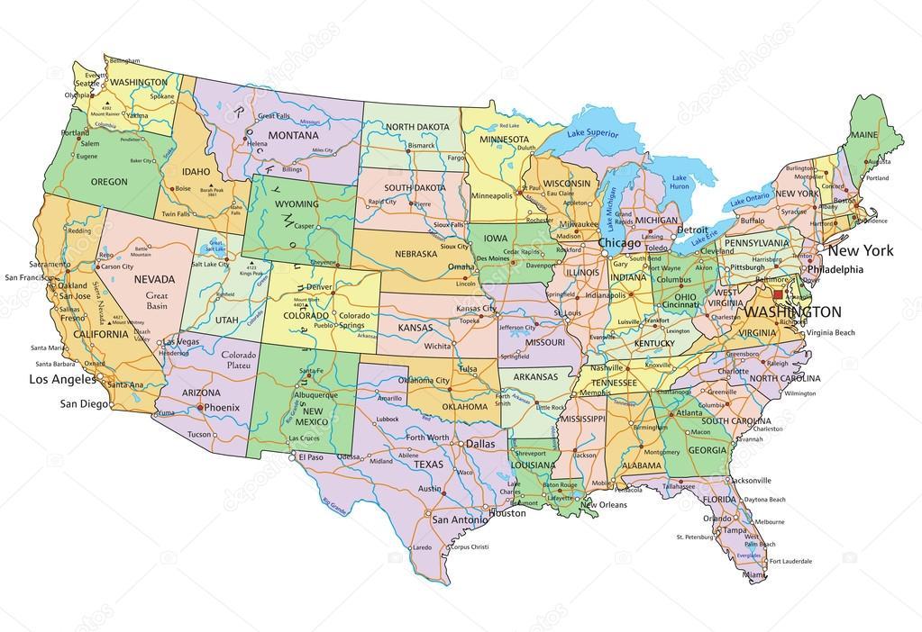 United States of America - political map — Stock Vector © delpieroo ...