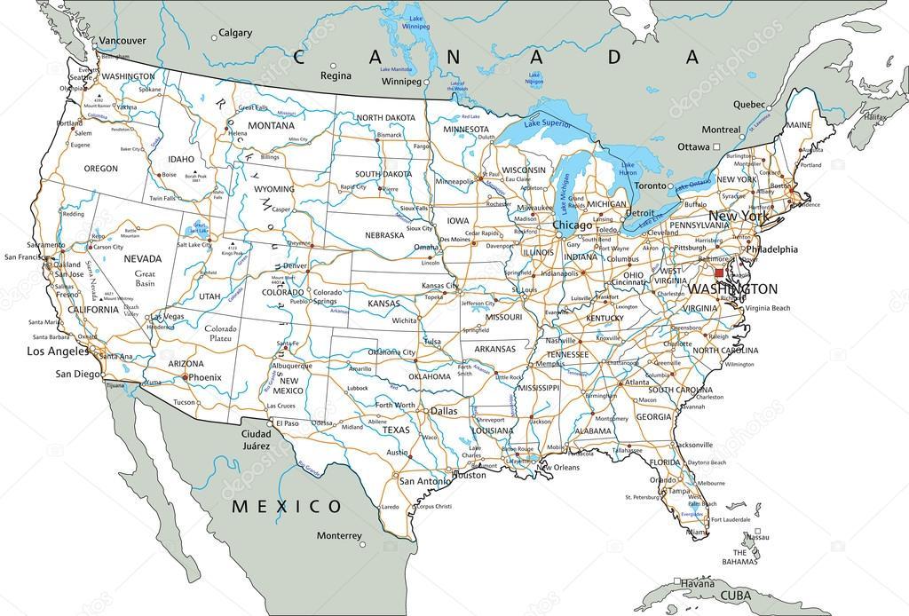 Mapa De Carreteras De Estados Unidos De América Archivo Imágenes - Mapa de united states