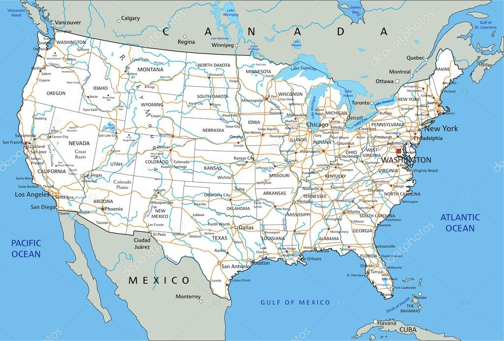 Images: usa road map | United States of America road map ...