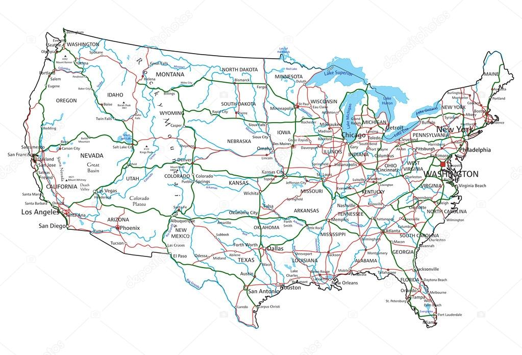 United States of America road map — Stock Vector © delpieroo #76116193