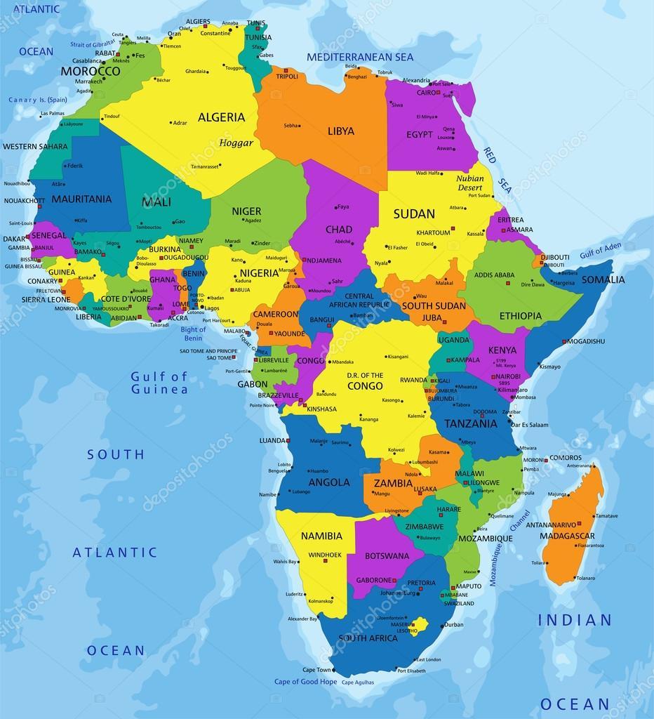afrika karta svenska Färgglada Afrika politiska karta — Stock Vektor © delpieroo #76116257 afrika karta svenska