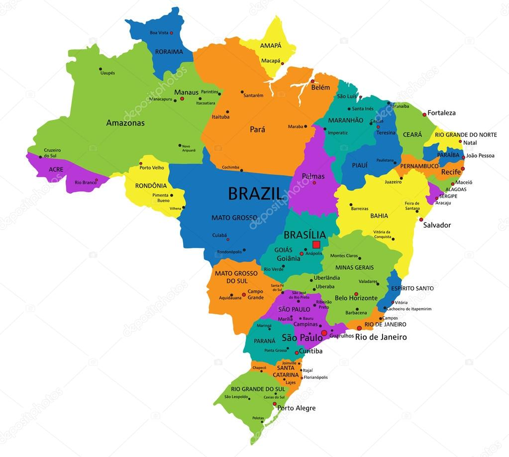 Colorful Brazil Political Map Stock Vector Delpieroo - Brazil political map
