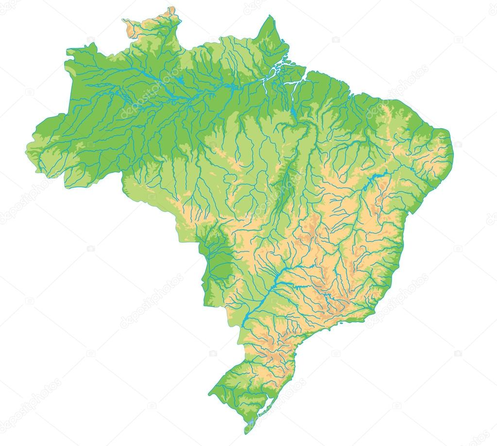 Brazil physical map.