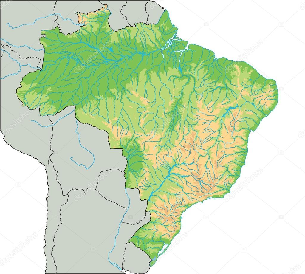 Brazil physical map Stock Vector delpieroo 76116445