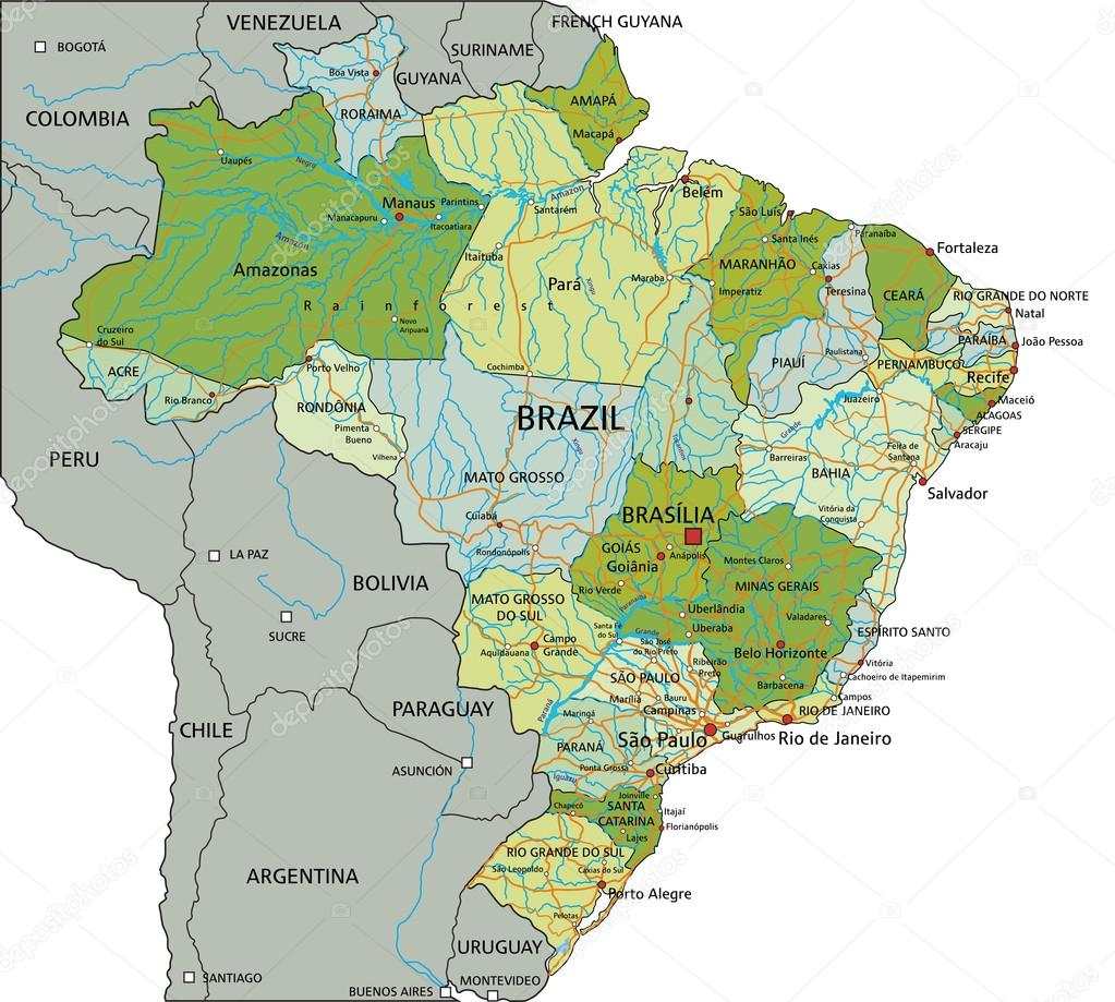 Brazil Political Map With Separated Layers Stock Vector - Brazil political map