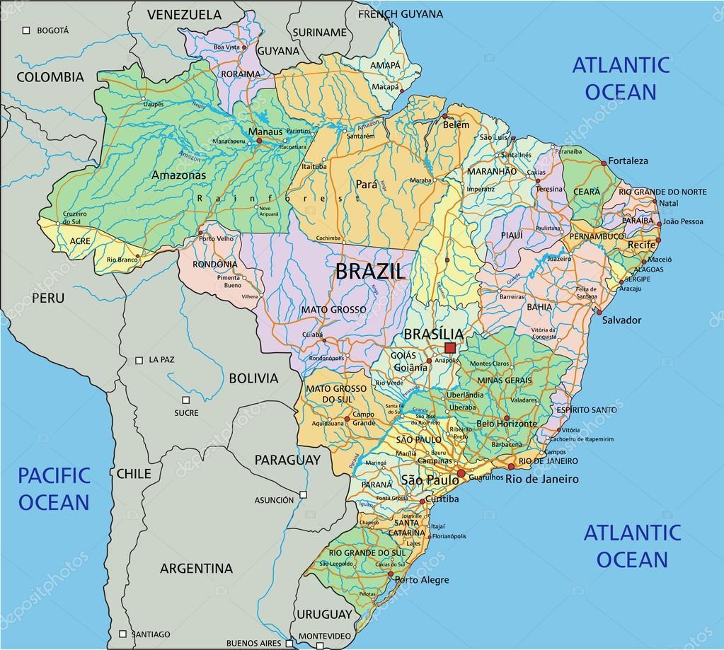 Brazil Political Map Stock Vector Delpieroo - Brazil political map